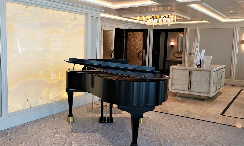 Entrance and Baby Grand Piano in the Regent Suite: Photo by Susan J. Young