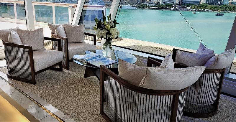 Regent Suite's interior lounge provides sea and destination views. Photo by Susan J. Young