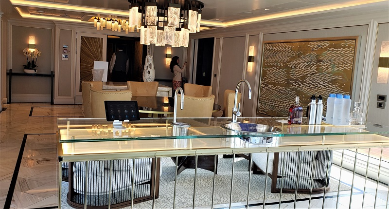 Looking from the Regent Suite's interior lounge area to bar, dining area and entryway. Photo by Susan J. Young