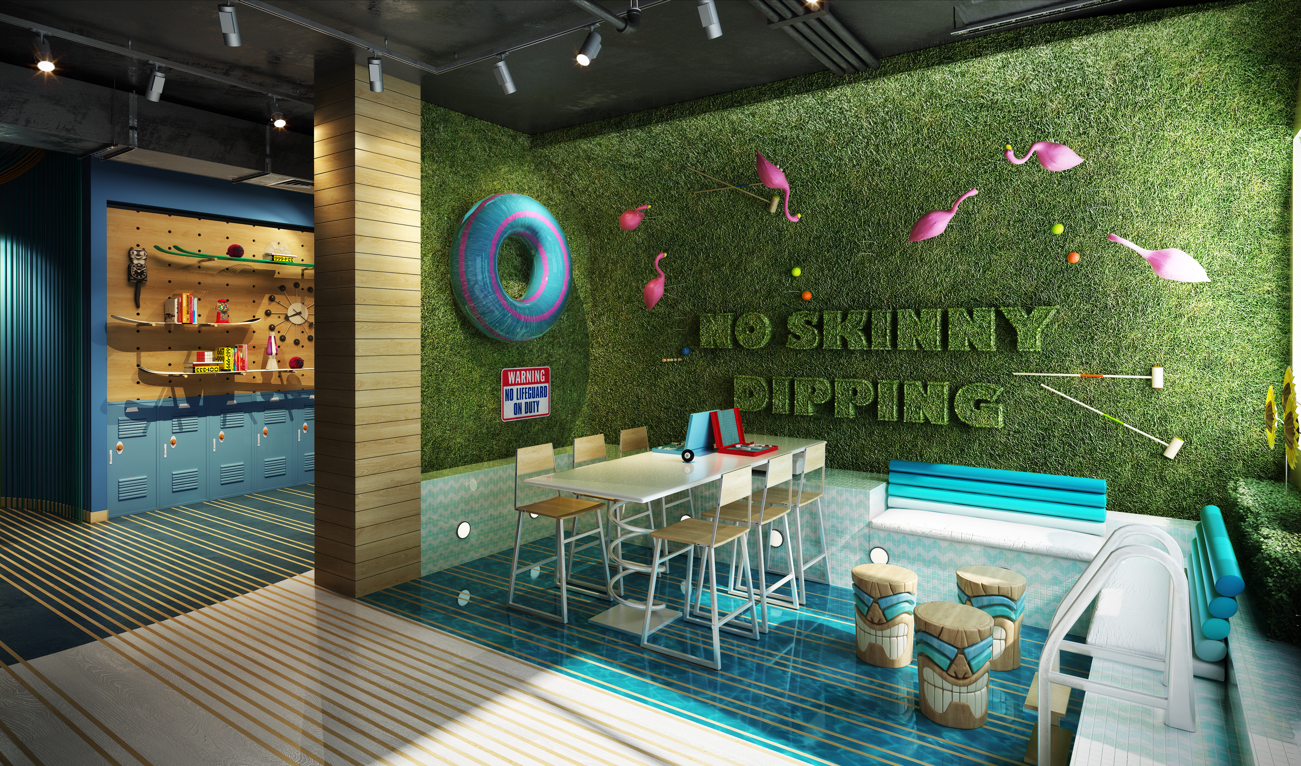 Portraying modern nostalgia, the space brings together the idea of family fun and adventure–triggering memories of going to the pool as a kid, camping with family and cross-country road trips.