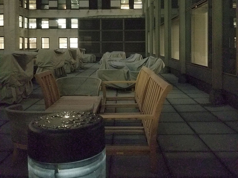 An outdoor terrace serves as an additional event space