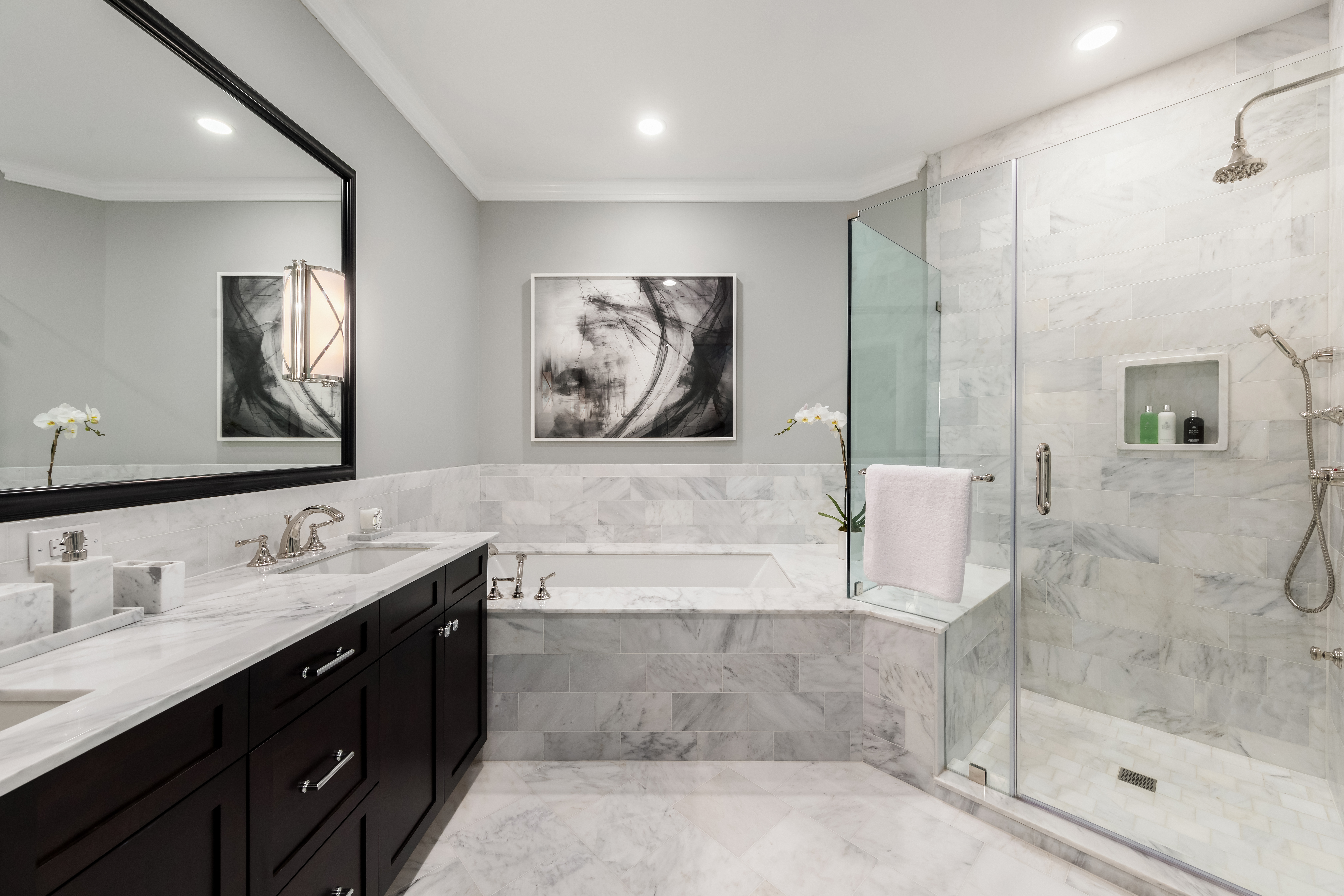 """Choice of materials can contribute to a bathroom's overall sustainability. As the company's name suggests, all of Brasstech's fixtures are made of brass—""""a metal that you can melt back down and reshape,"""" said Chris Chmura, the company's hospitality business development manager."""