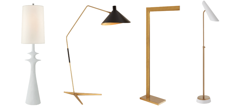 Floor models include the Lakmos floor lamp in plaster white with a linen shade.