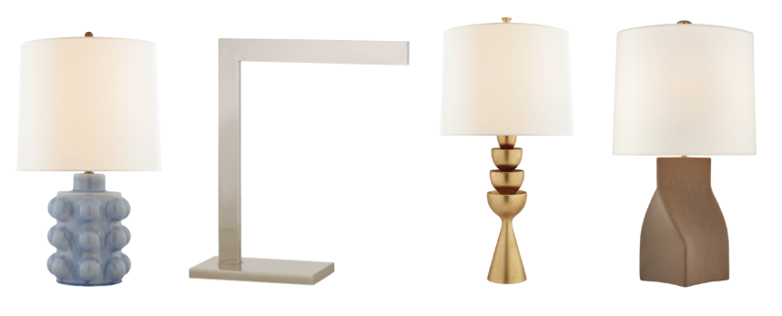 Table models include the Vedra Medium Table Lamp in polar blue crackle with a linen shade [left].