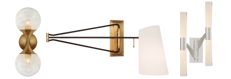 Wall options include the Cristol small double sconce in hand-rubbed antique brass with white glass.