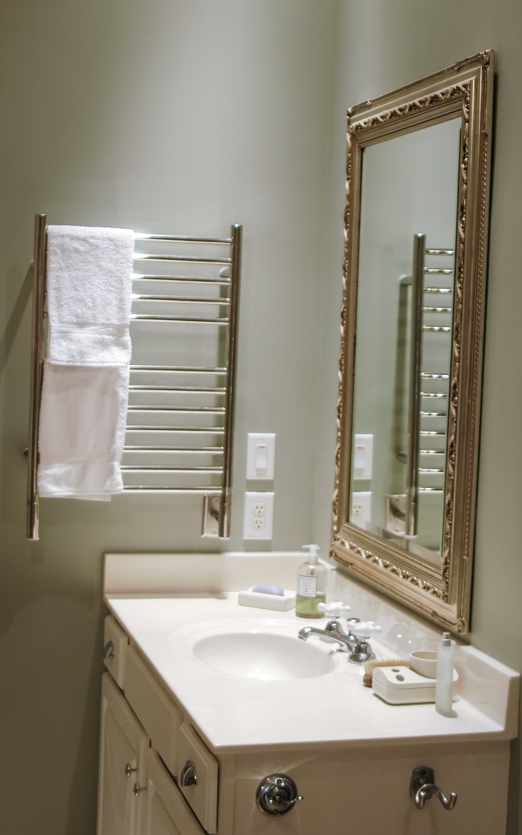 Heated towel racks can be set on a timer to minimize energy use, although Amba Products Director Fred Salati noted they cost pennies per day to leave on.
