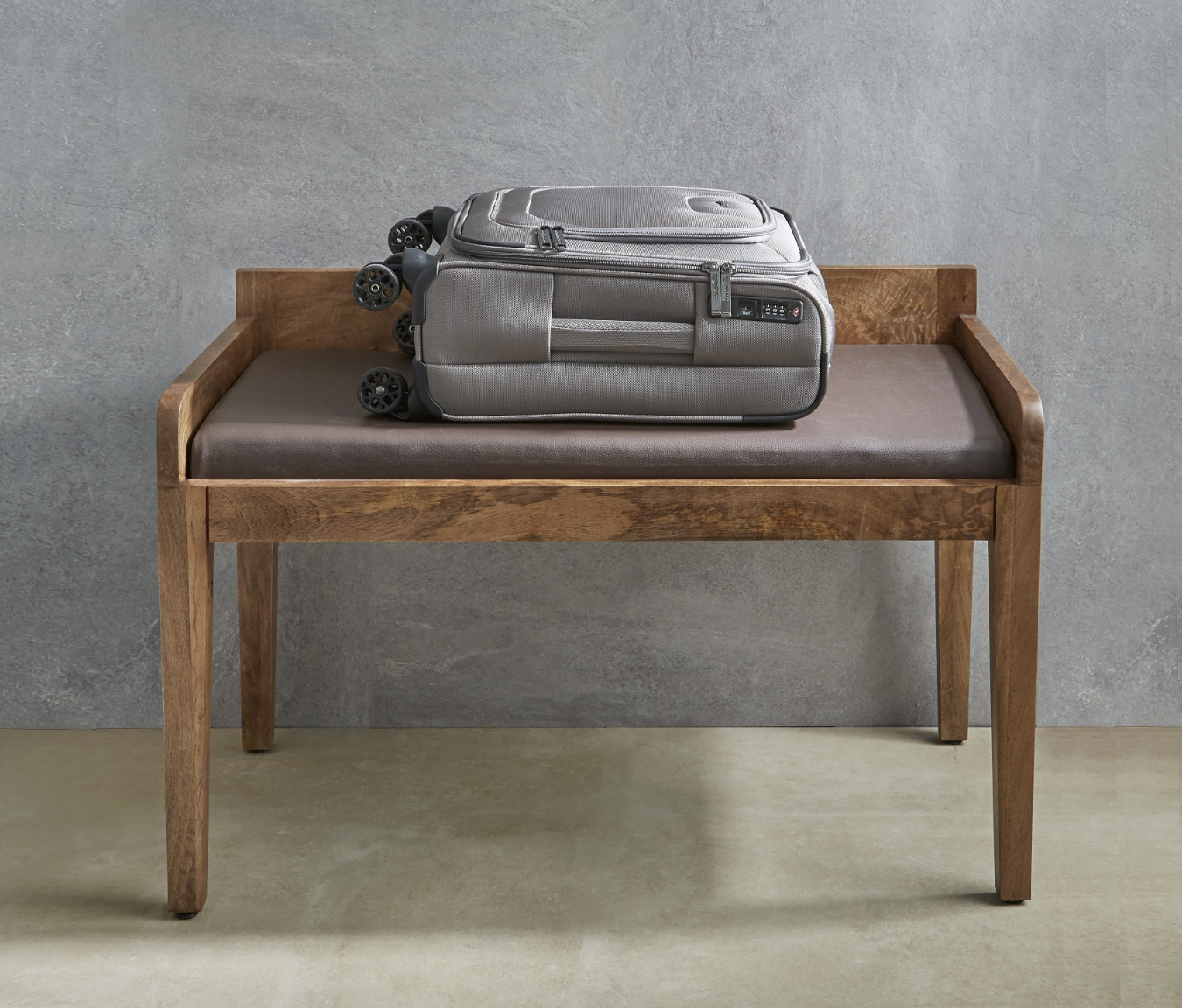 The Bassa unit doubles as a luggage storage bench.