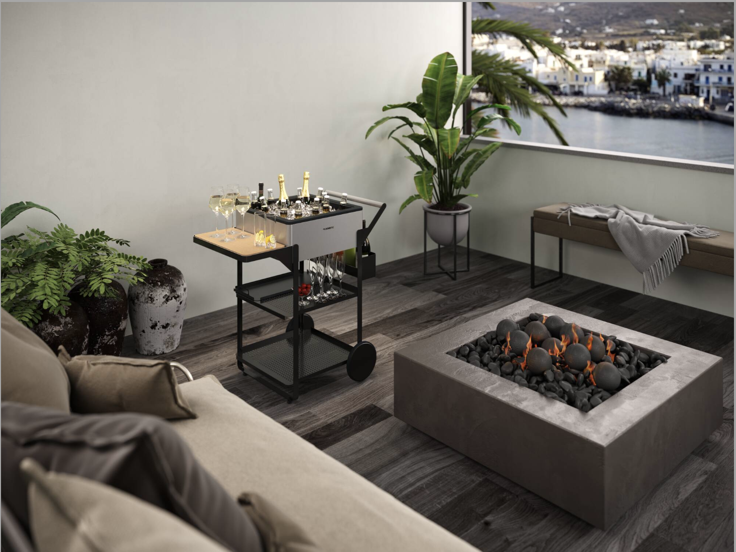 The compact Dometic MoBar 50 can fit on a terrace or balcony or at a pop-up event.
