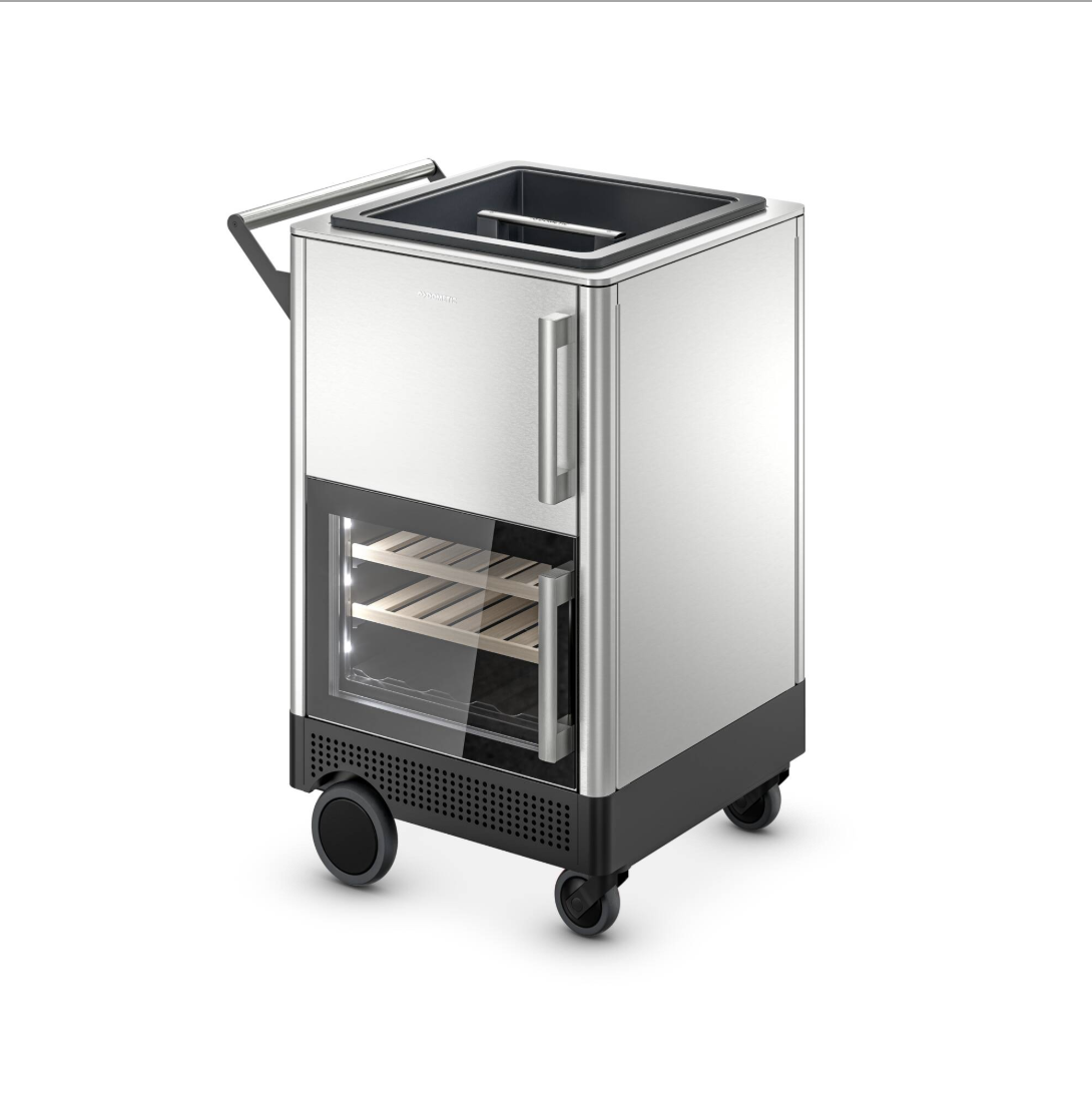 The Dometic MoBar 300 has a refrigerator that can hold up to 19 bottles or 70 cans.