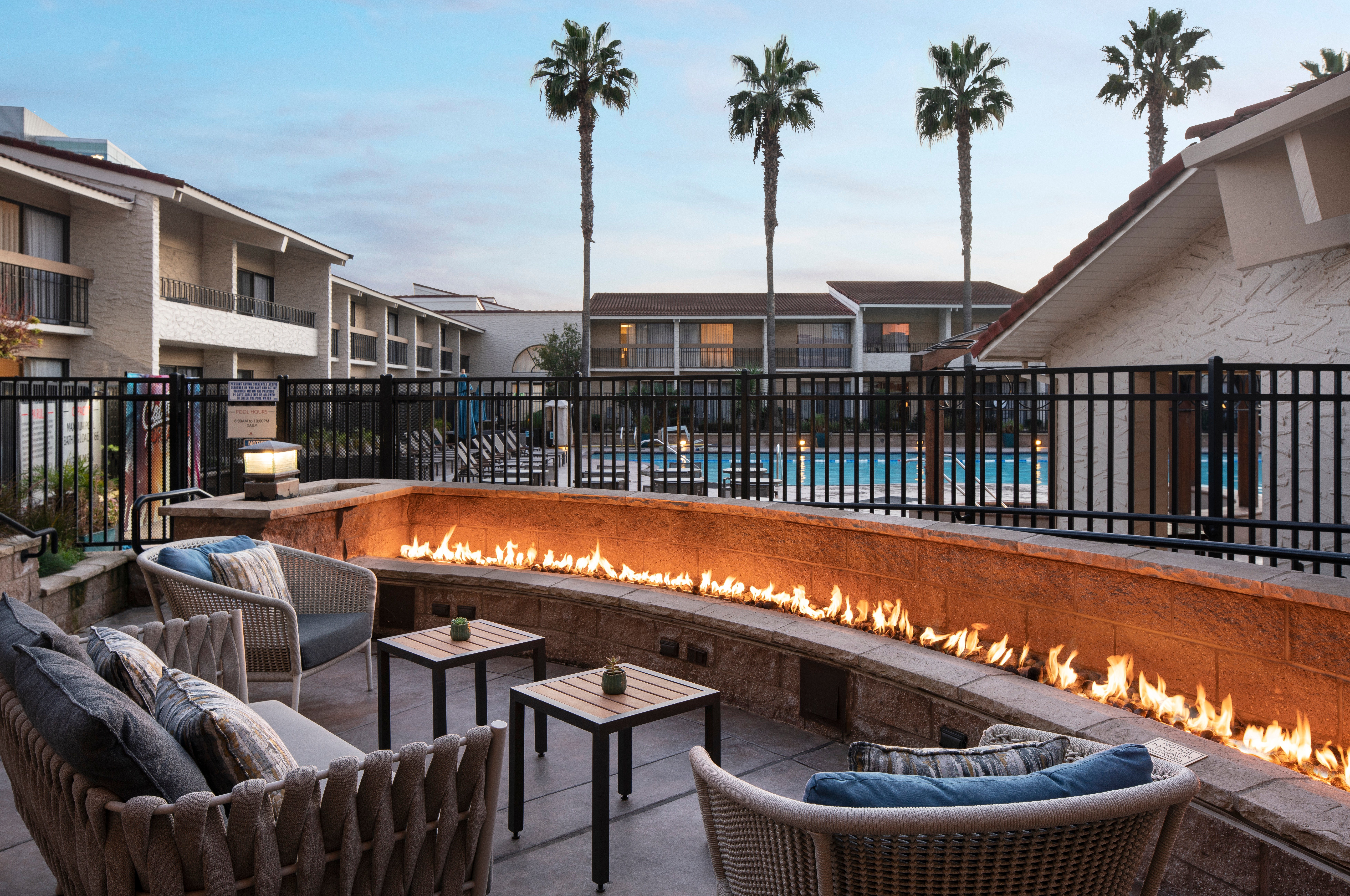 The resort's fire pit lets guests stay outside year-round.