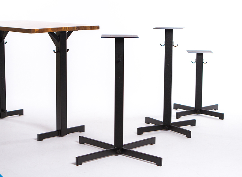 Rockless Table bases comes in models for bars, counters and dining tables.