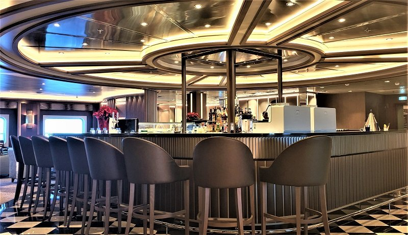 The curved bar is a centerpiece of the Arts Cafe. Photo by Susan J. Young