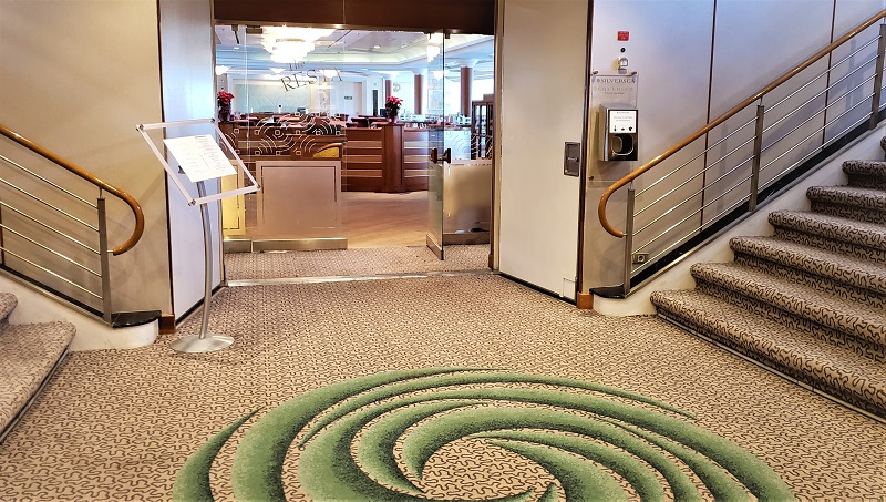 New softer-colored carpeting with green swirling accents graces the entrance to The Restaurant. Photo by Susan J. Young
