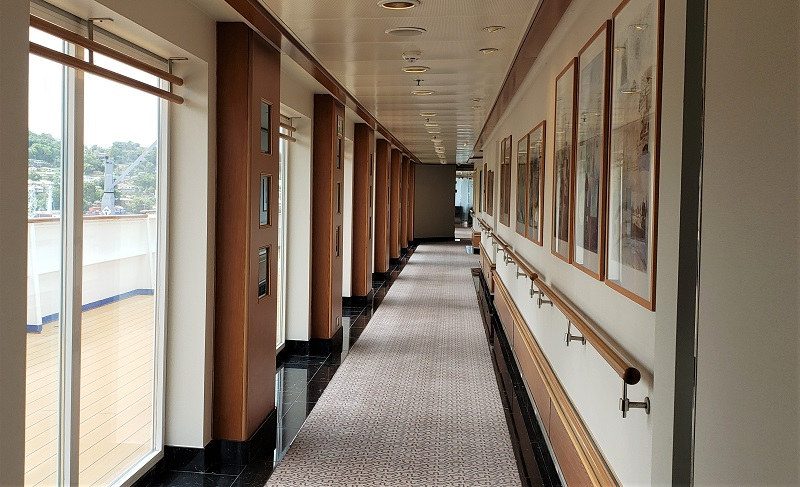 Following the refurbishment project, Silver Shadow's corridors have a lighter look. Photo by Susan J. Young