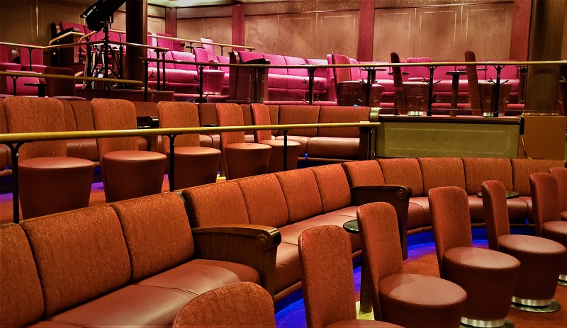 The theater is one of the few areas onboard with bright colors. Photo by Susan J. Young