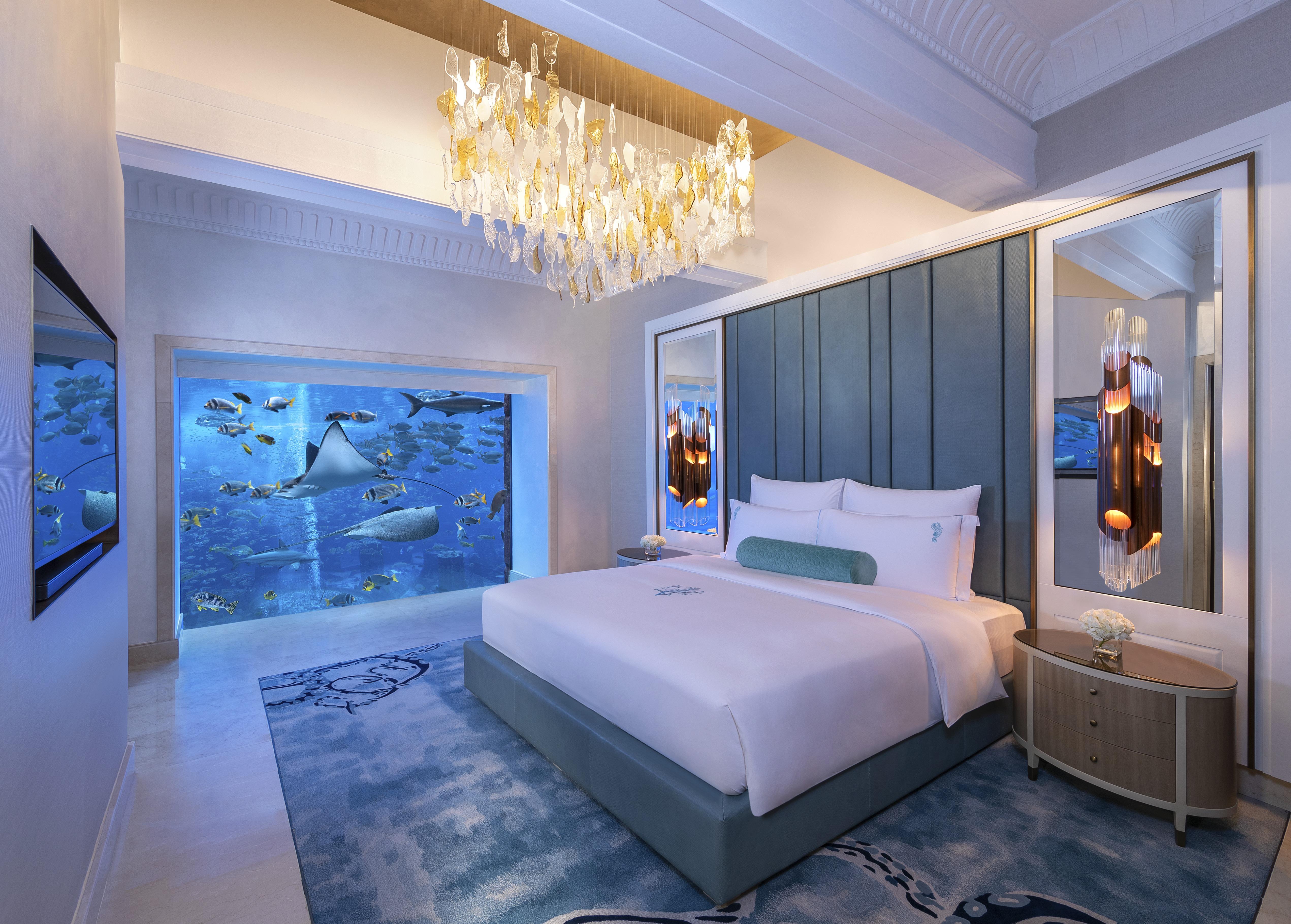 Updated guestrooms got a contemporary underwater design.