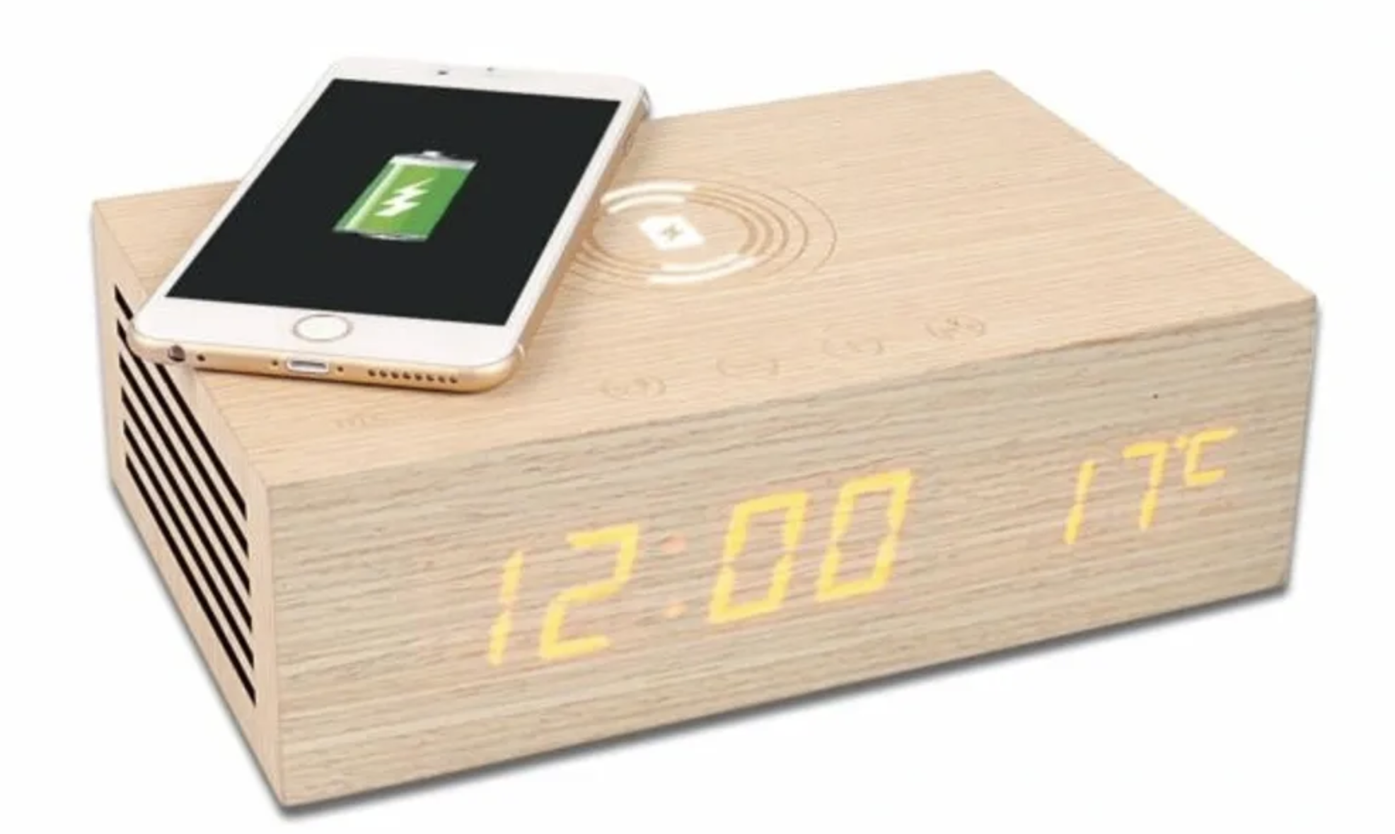 The unit has a wireless charging function, wired charging through two USB ports and a thermometer option.