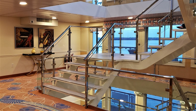 The ship's five-deck glass atrium provides an open-feel.
