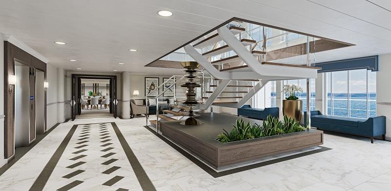Atrium of Modern Riverboat-class vessel with interior design by Studio DADO