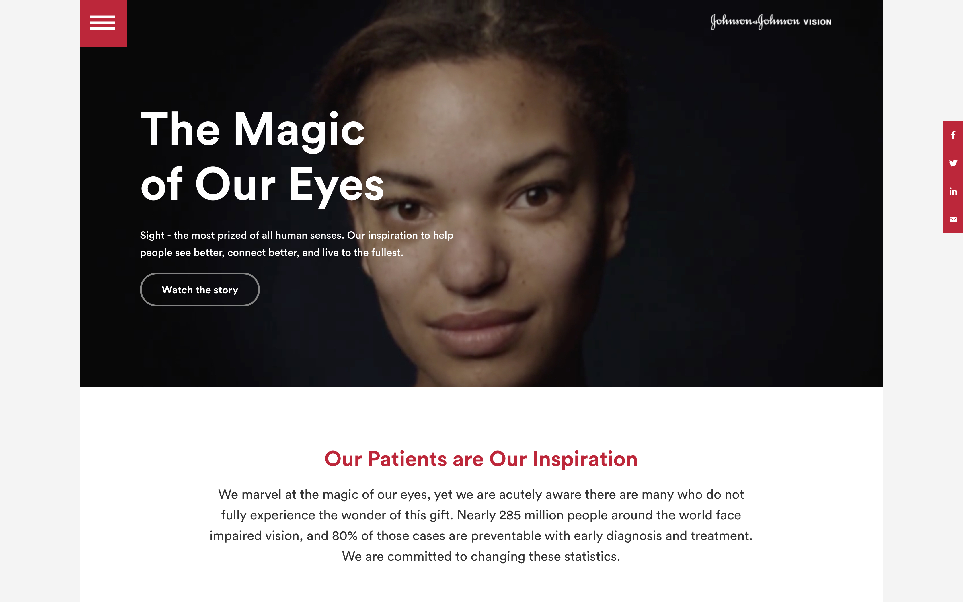 Expanding J&J Vision's new corporate site launches with a little eye 'magic'