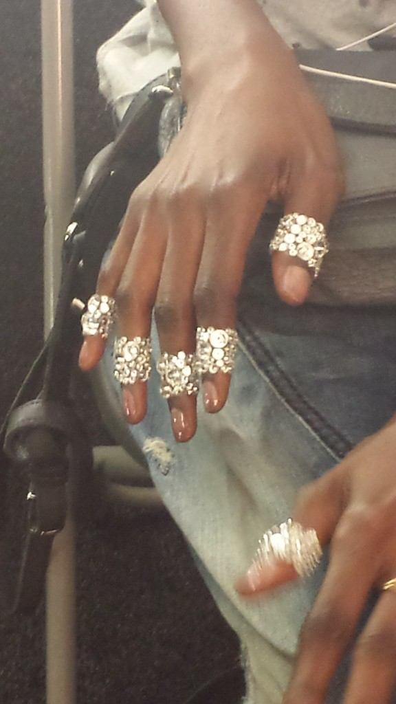 The fingers were wrapped with crystals after being polished.