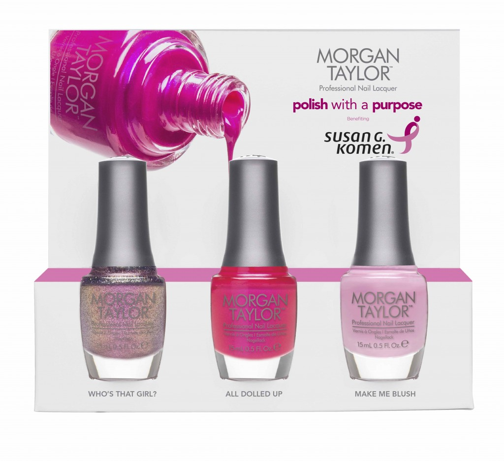 The limited edition nail polish trio features Morgan Taylor Professional polishes Who's That Girl, All Dolled Up and Make Me Blush. Five percent of each set purchased will be donated to the Susan G. Komen for a Cure.