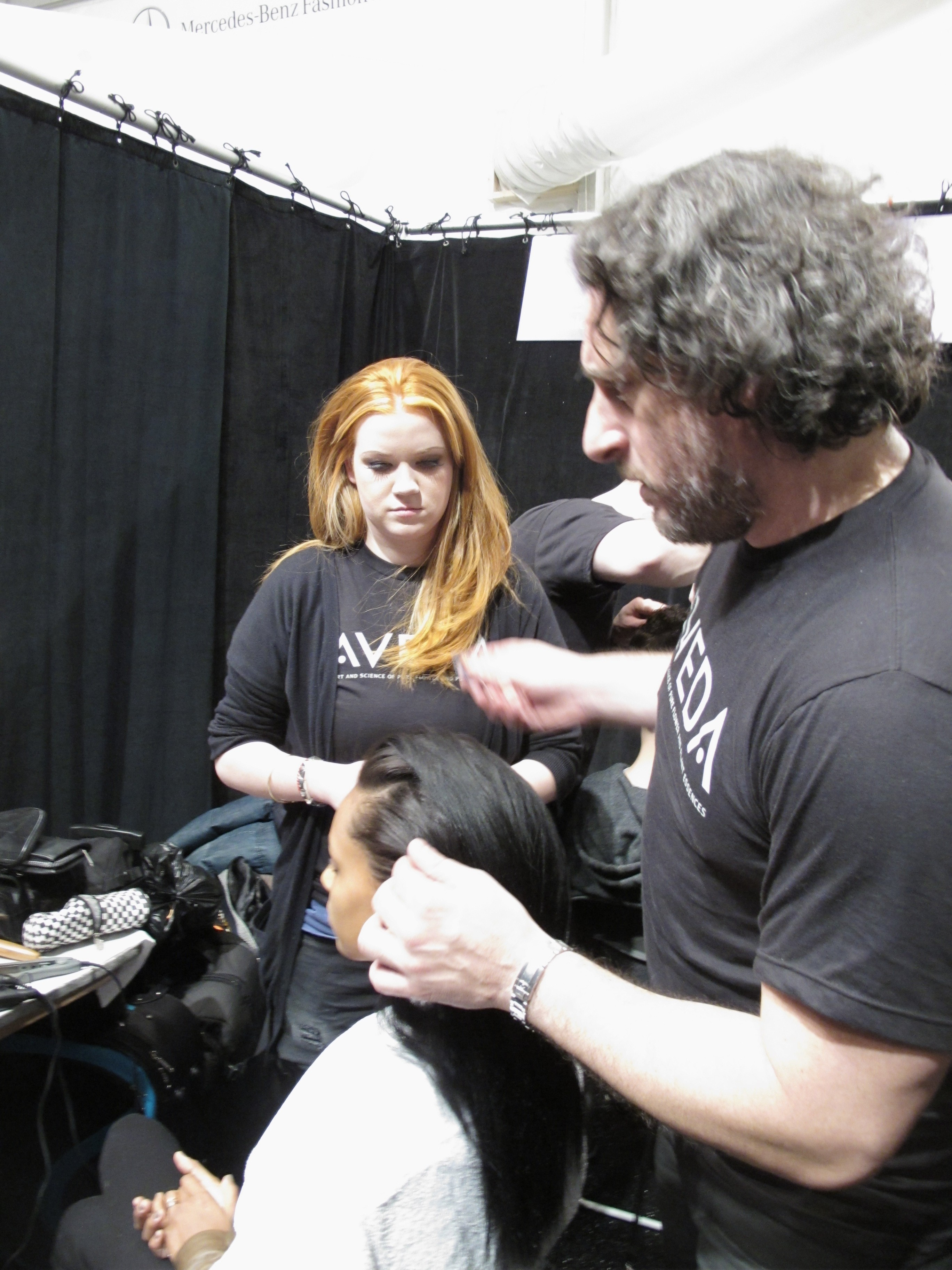 Frank Rizzieri for Aveda backstage at Richard Chai