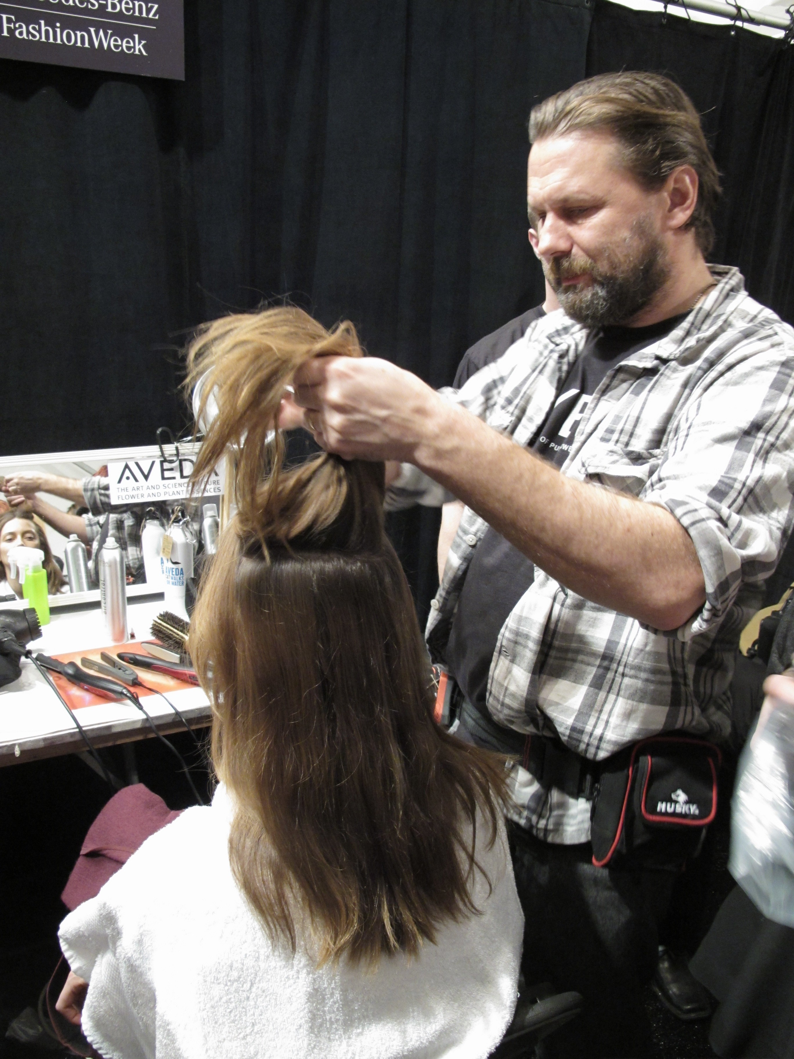 Kevin Ryan for Aveda backstage at Richard Chai