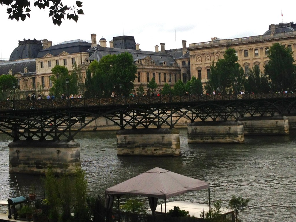 View of the Love lock Bridge in Paris from the street.