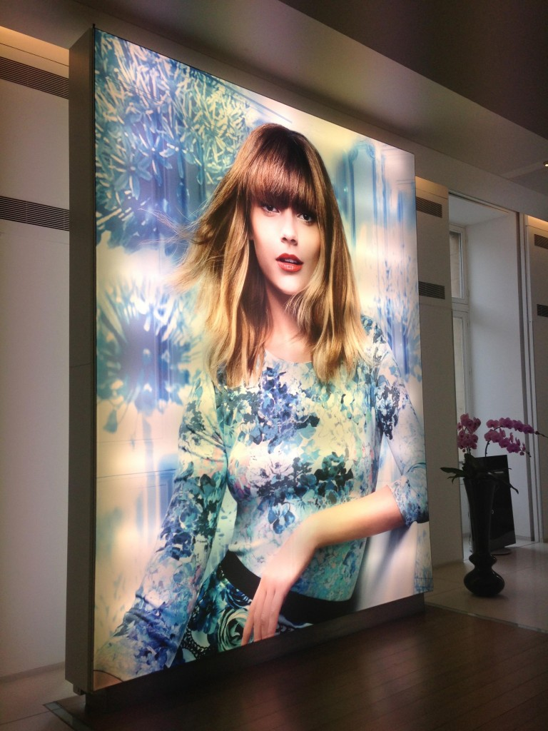 Lobby of L'Oréal Academie (French spelling) with a photo of L'Oréal Professionnel Ombré Nature in the entry way.