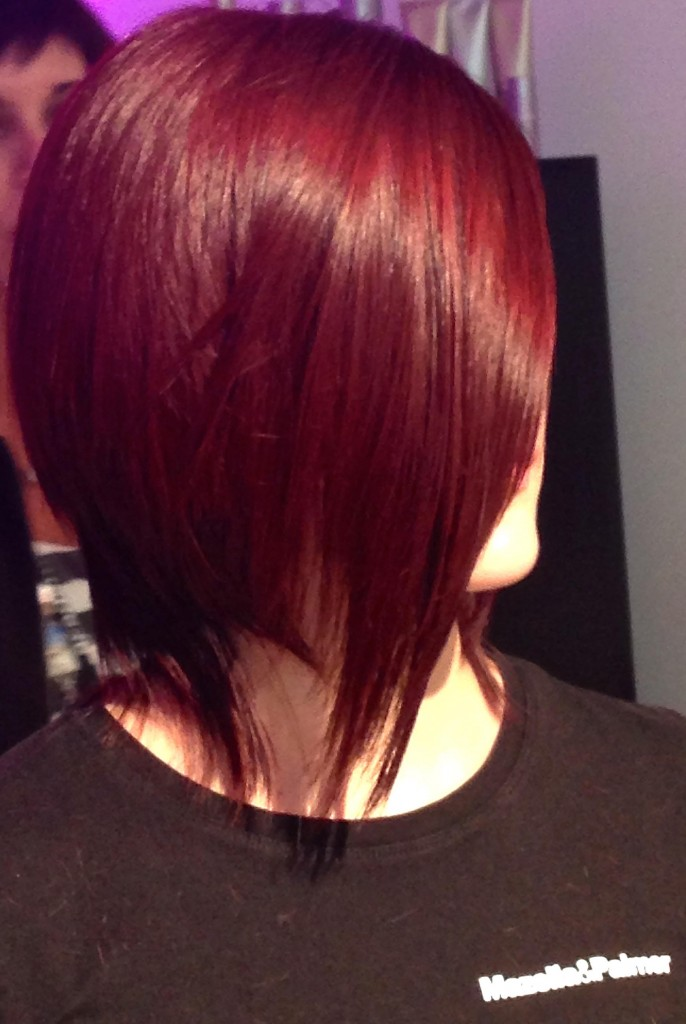 First haircut done by the Mazella & Palmer team using L'Oréal Professionnel Majirel for a dimensional fashion forward red shade.