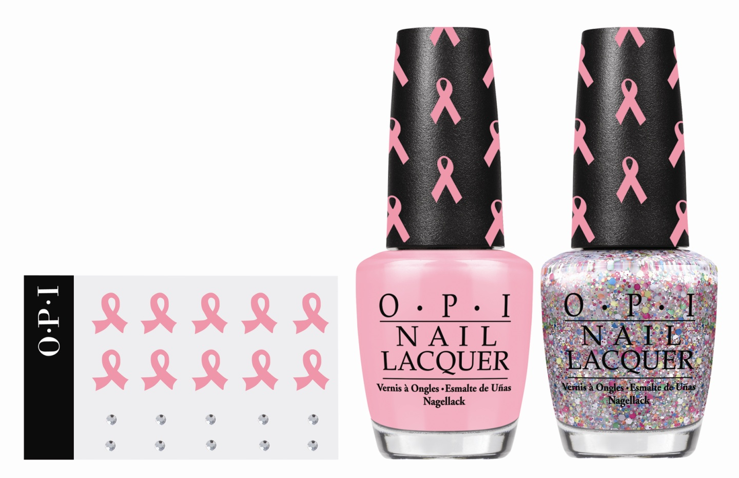 Pink-ing of You and the new More than Glimmer polish make up the limited edition duo, which also includes pink ribbon and crystal decals. In honor of Breast Cancer Awareness Month, OPI will donate a total of $25,000 to Susan G. Komen and $5,000 to Rethink Breast Cancer.