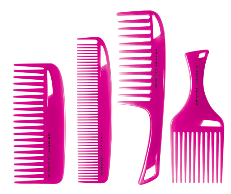 A blend of argon, olive oils and keratin protein is infused in the plastic to help moisturize hair and attack frizz. The four pink combs work perfectly with all hair types to help achieve healthier looking hair. A portion of the sales will be donated to breast cancer research through The Cancer Research Hospital.
