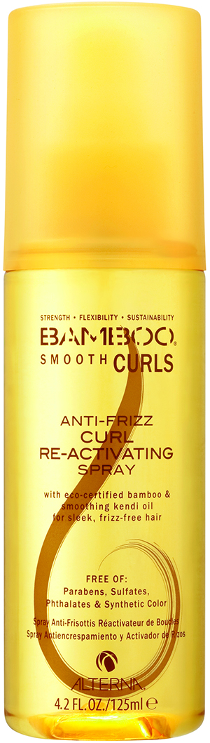 Alterna Bamboo Smooth Curls Anti-Frizz Curl Re-activating Spray redefines second-day curls, using kendi oil to smooth the hair's lipid layer.