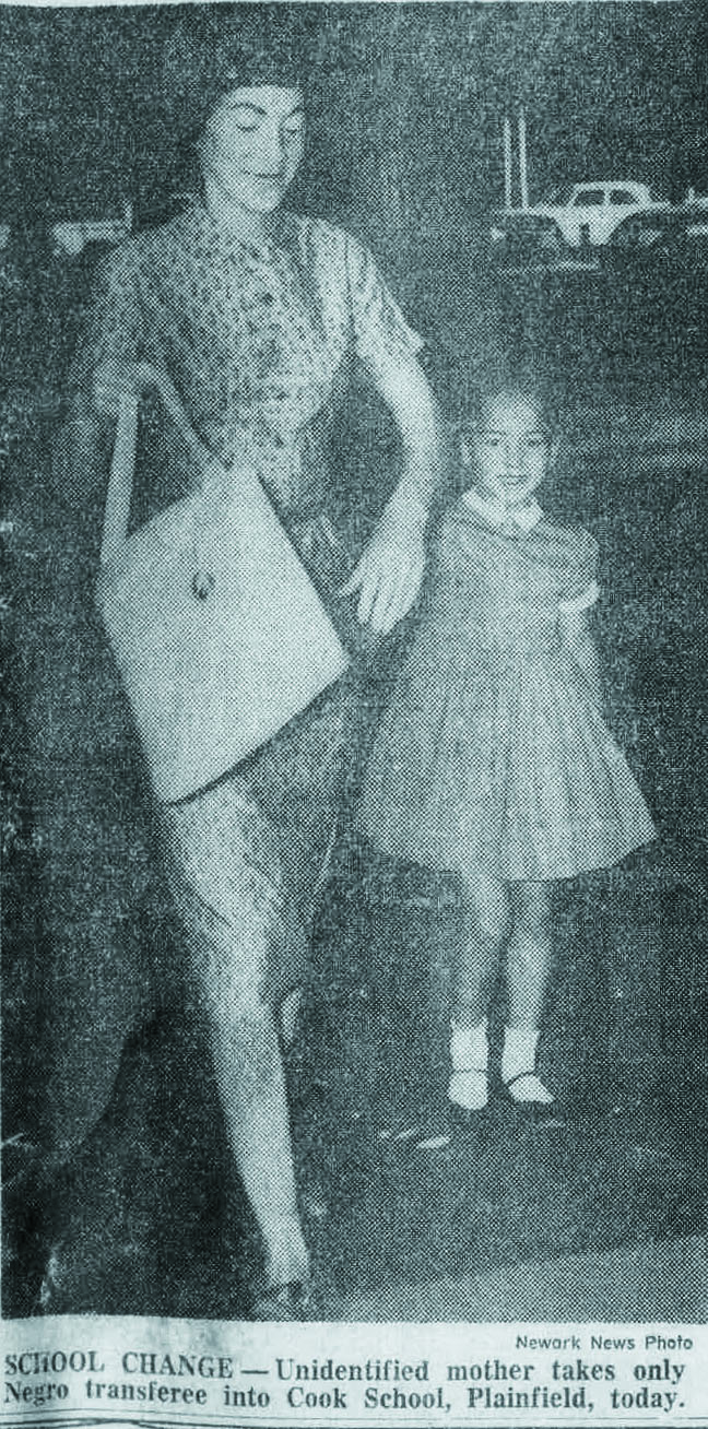 Carter's mother, Louise Carter, walking her to her first day of school.