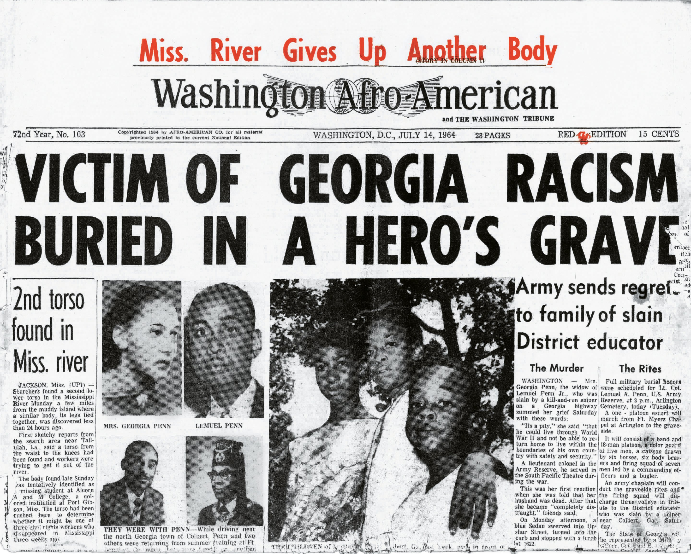 The Washington Afro-American covering Uncle Lem's murder and hero's burial.
