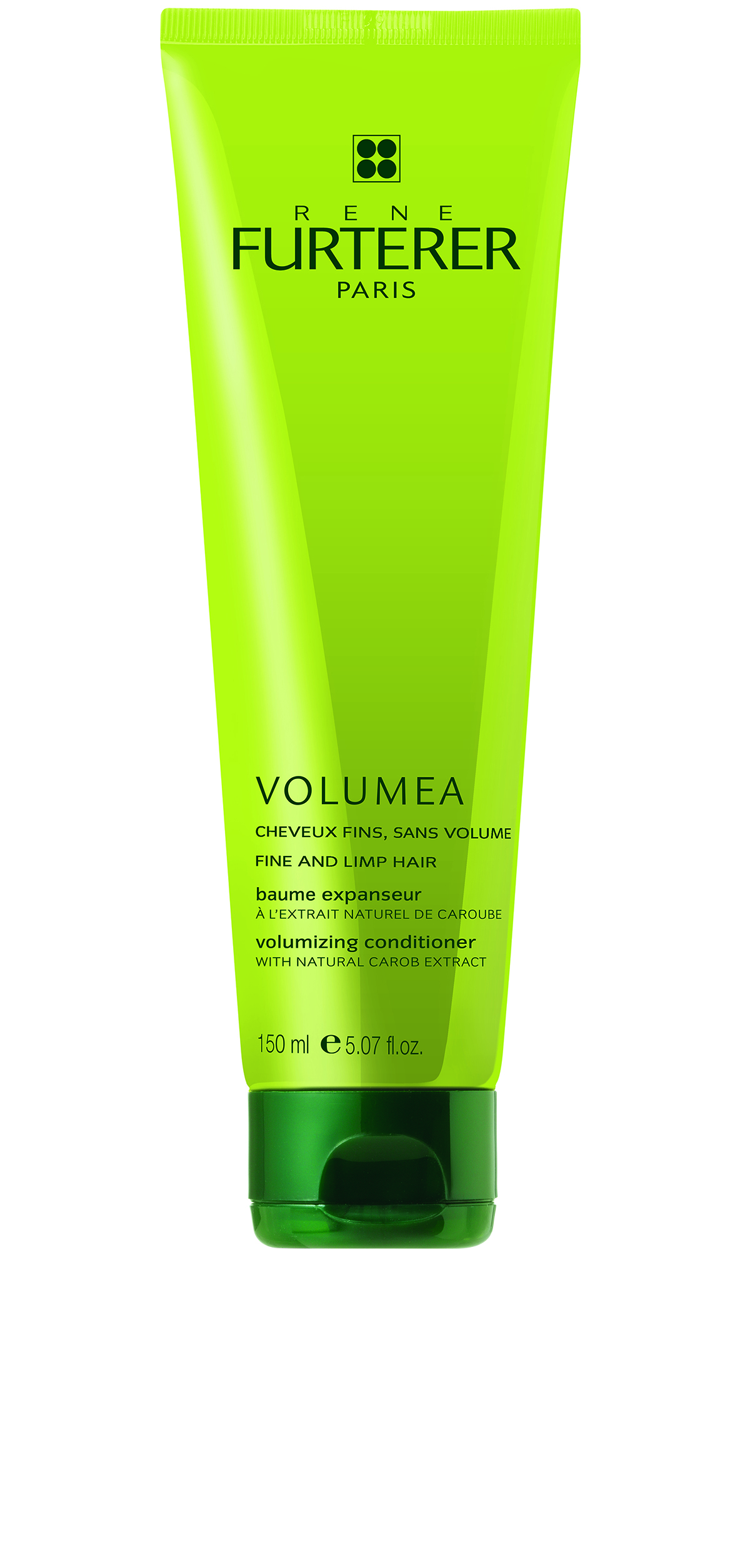 Rene Furterer Volumea Volumizing Conditioner contains natural carob to coat the hair shaft and enhance it by 11 percent, making it ideal for