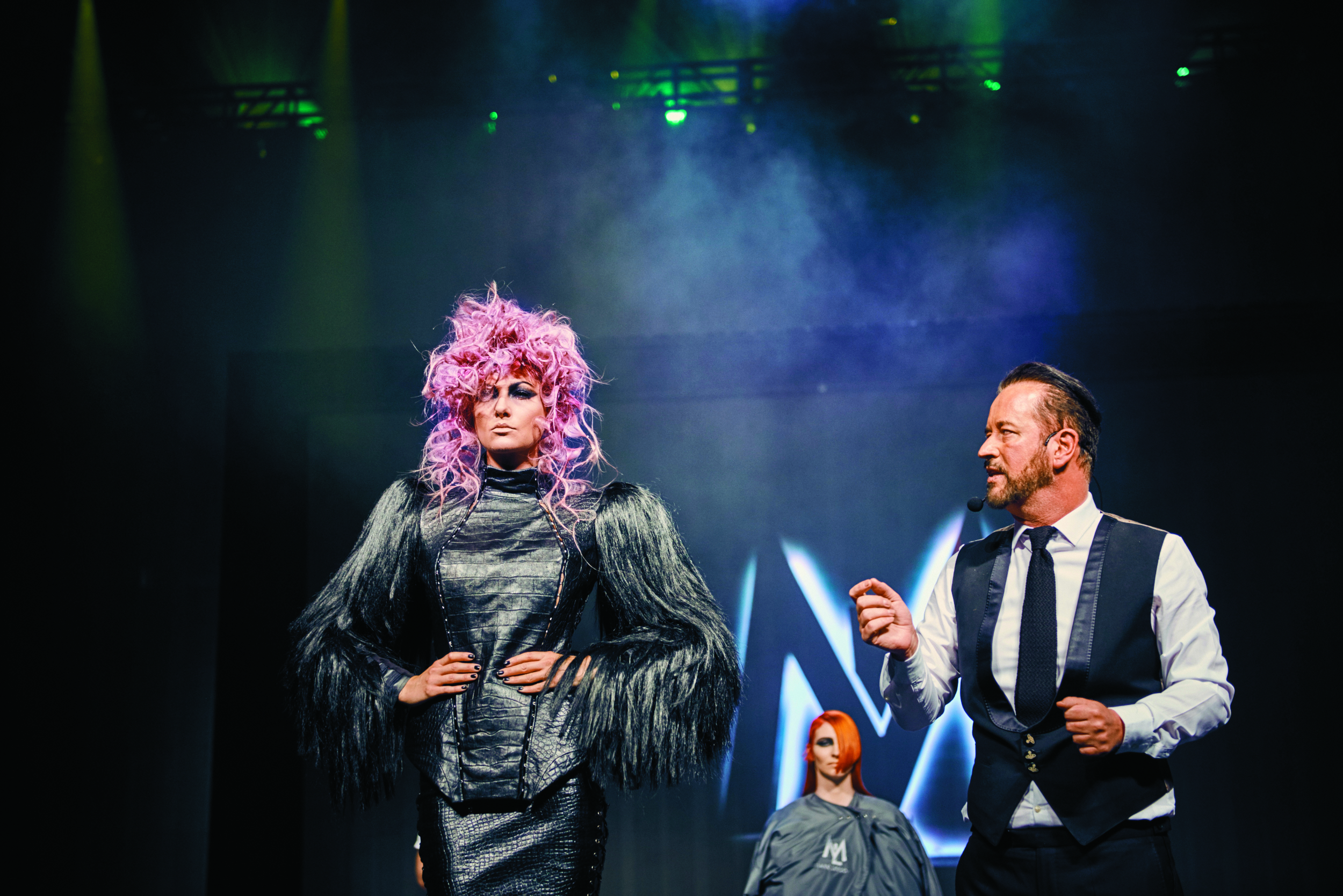 Mark Leeson, British Hairdresser of the Year and UK Hall of Fame member, presented a collection that featured couture clothing, world-class hair color and editorial styling.