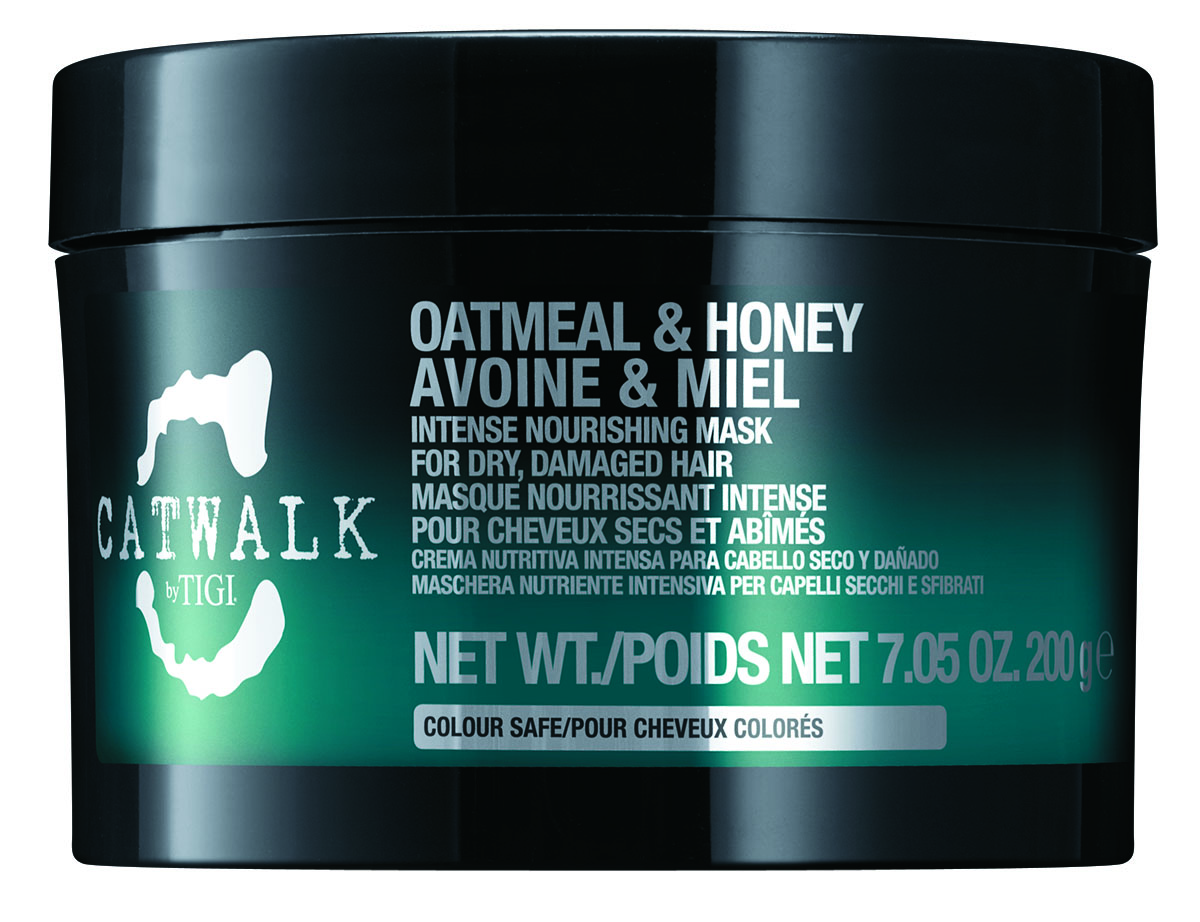 Catwalk by TIGI  Oatmeal & Honey Intense Nourishing Mask repairs curls with acacia honey and delicate oatmeal, leaving curls soft, smooth and shiny.