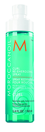 Moroccanoil Curl Re-Energizing Spray is infused with nourishing argan oil, green tea and aloe leaf juice, giving  slept-on or end-of-day curls added moisture, shine and definition.