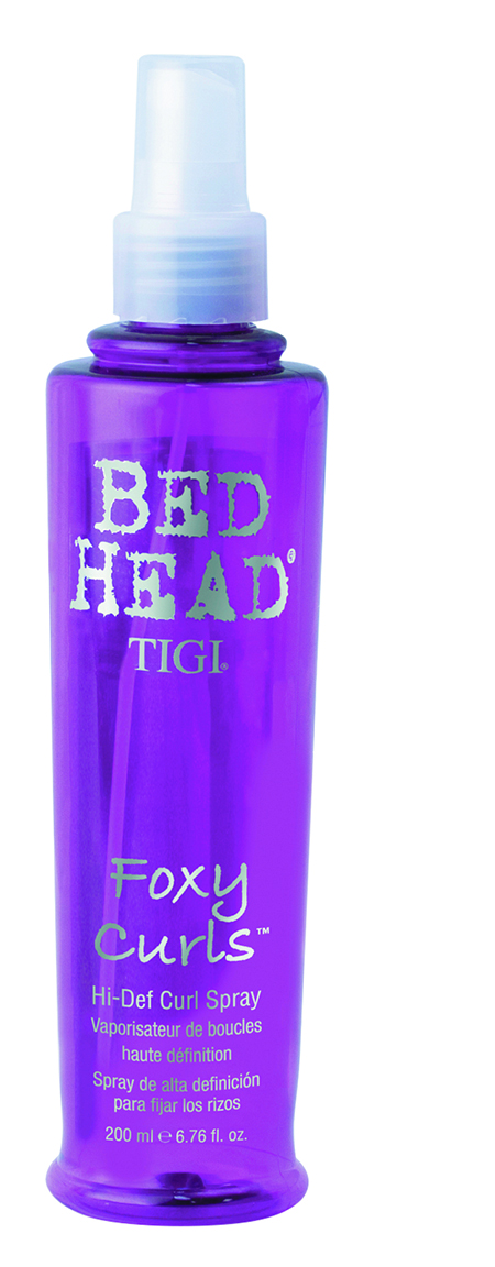 Bed Head by TIGI Foxy Curls Hi-Def Curl Spray separates curls, adds definition and fights frizz when applied on wet hair or used as a second-day restyler.
