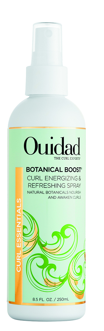 Ouidad Botanical Boost Curl Energizing & Refreshing Spray reinvigorates curls with hydrating ginseng, rose hip and aloe. Curls instantly look springy and cohesive.