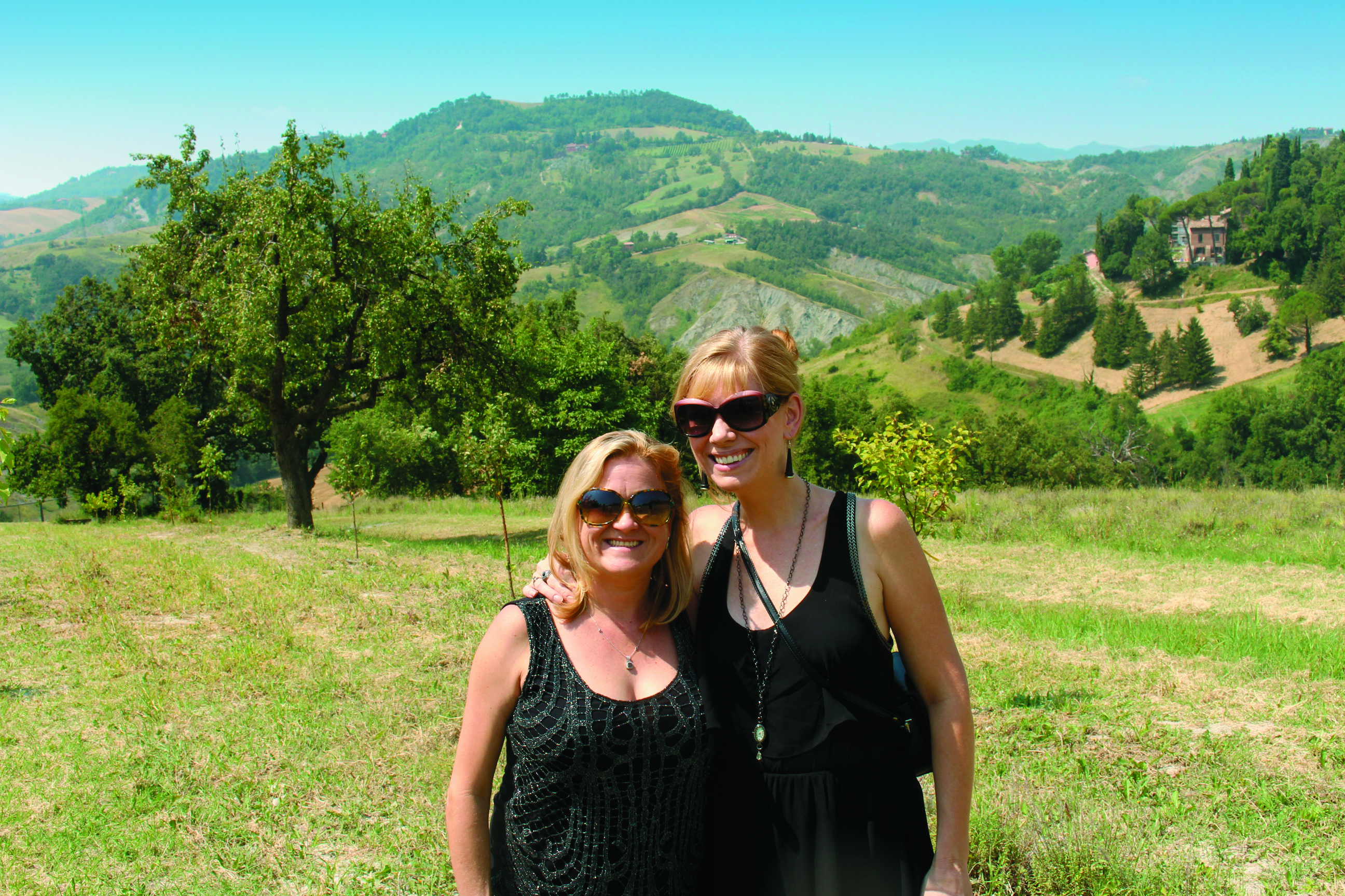 Rebecca Gregory and Jennifer Andrews in Bologna, Italy at OWAY's biodynamic farms.