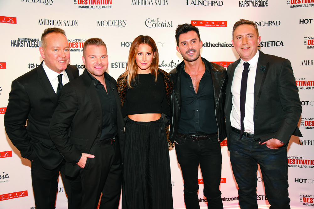 Actress Ashley Tisdale (center) walked the red carpet with members of the Matrix family, from left: Patrick O'Keefe, Nick Stenson, George Papanikolas and Paul Schiraldi.