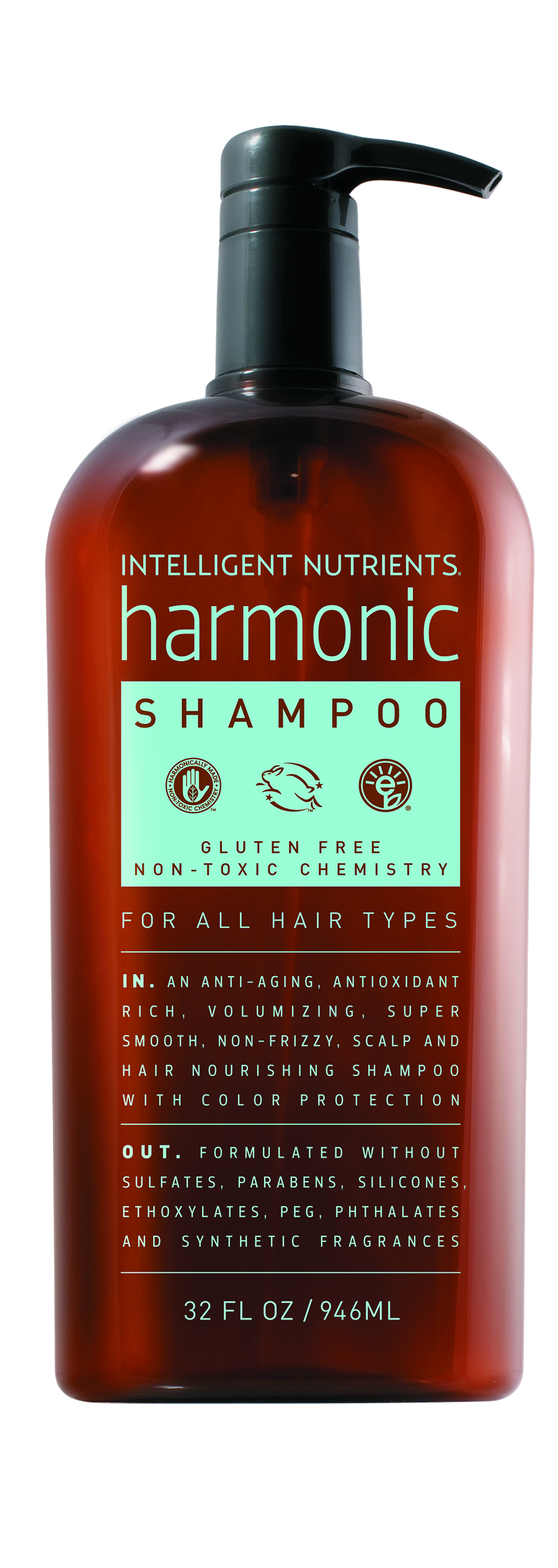 Intelligent Nutrients  Harmonic Shampoo is anti-oxidant rich, anti-aging, volumizing, and nourishing to the scalp, hair and body.