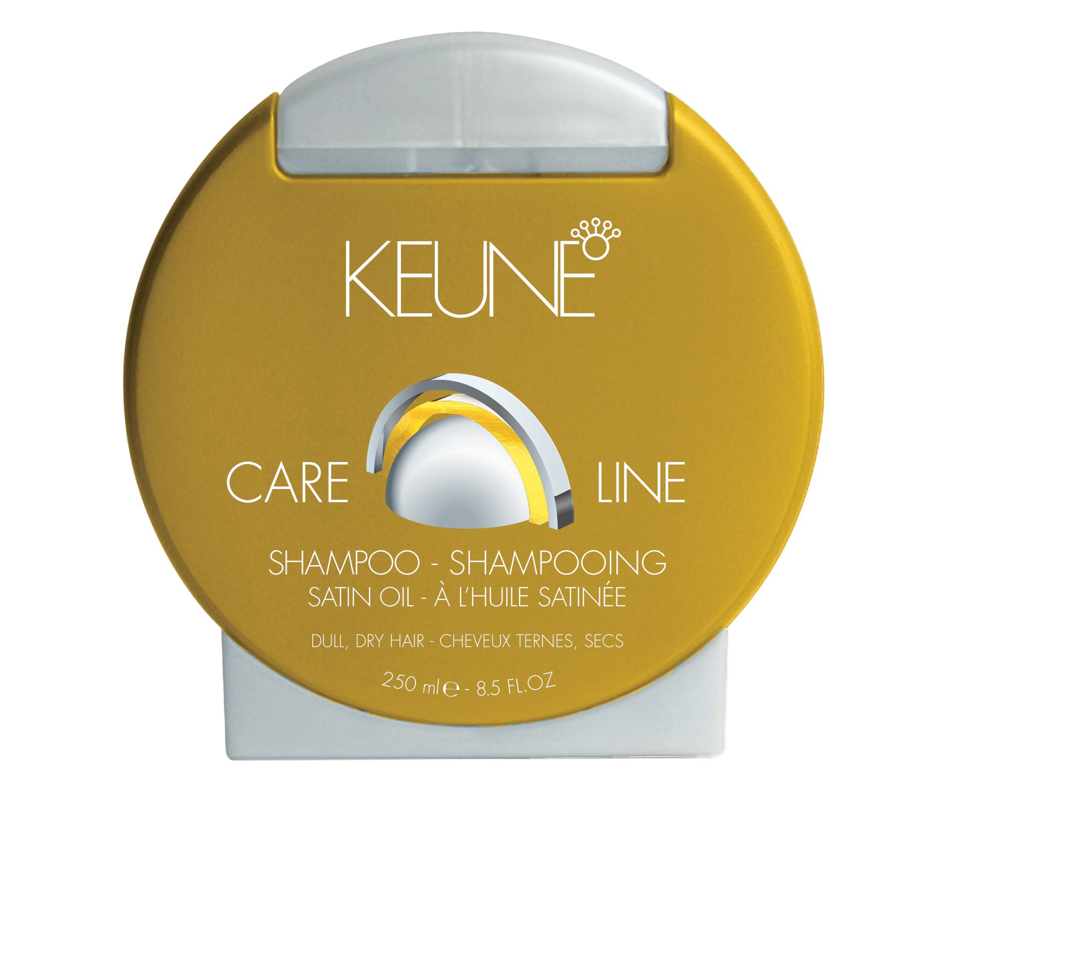 Keune  Care Line  Satin Oil Shampoo gives nourishment, softness and shine to the hair with Yangu, Monoi, sweet almond, and Maracuja oils, leaving hair healthy and fresh.