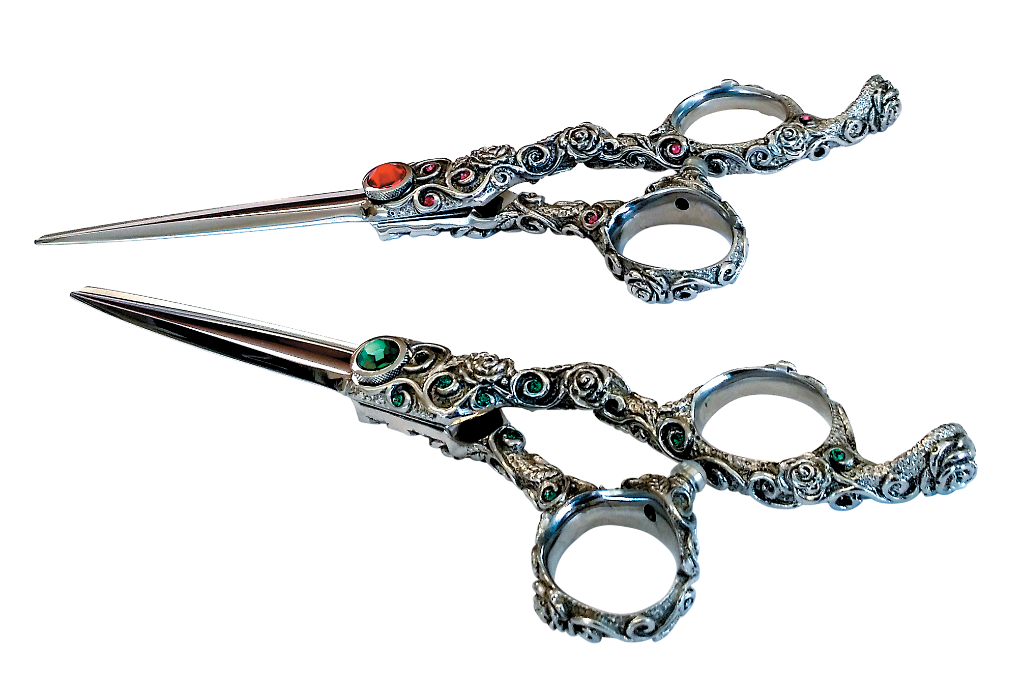 KAMISORI Jade & Rosa shears are handcrafted and forged with ATS-314 cobalt stainless super steel. They're perfect for soft cuts as well as slice-, point- and blunt-cutting.