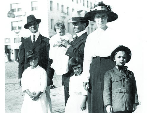 Basil (far left) with Mariano, his wife Pietrina and their four children in California circa 1918