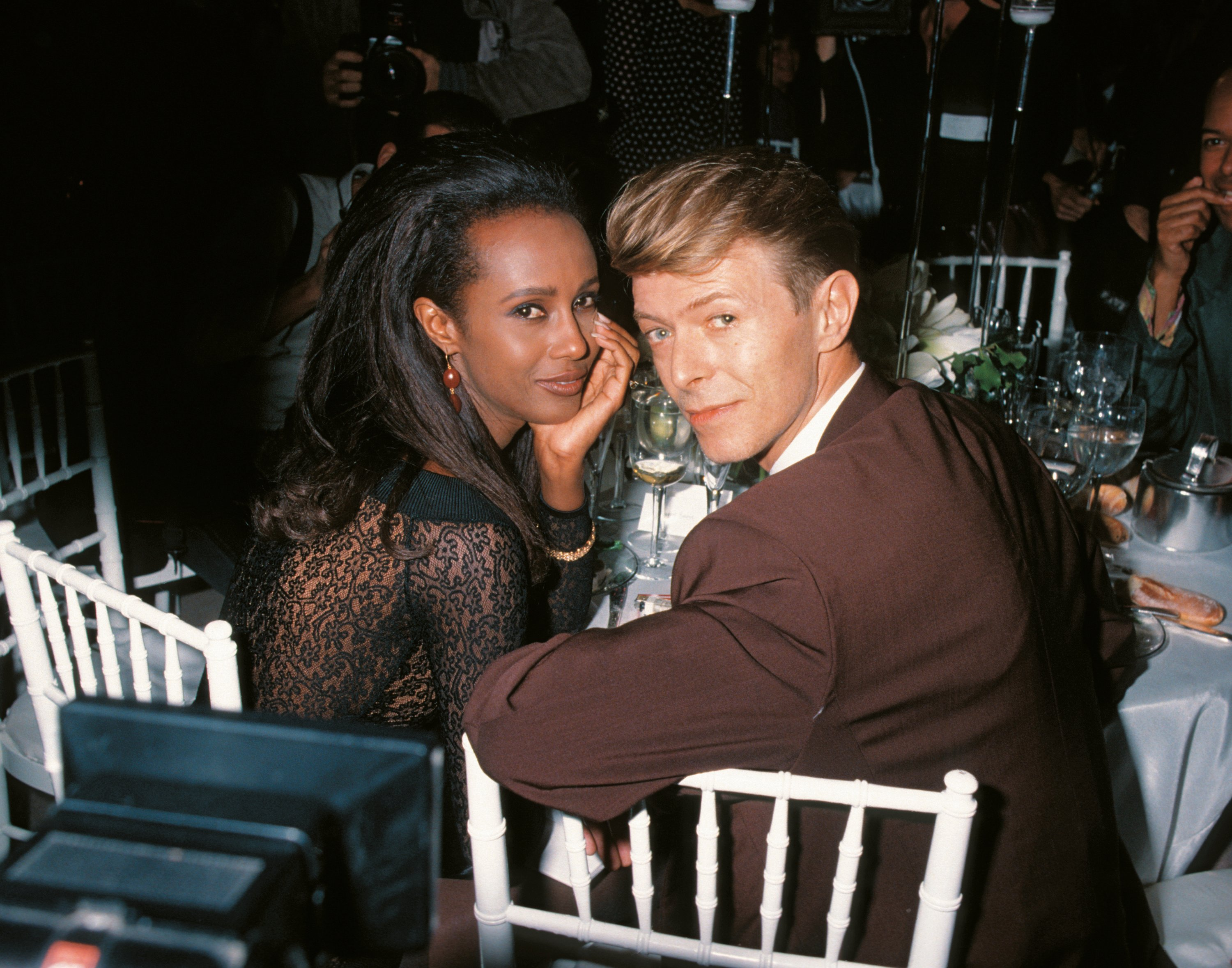 Bowie with wife Iman in 1990, two years before they were married.