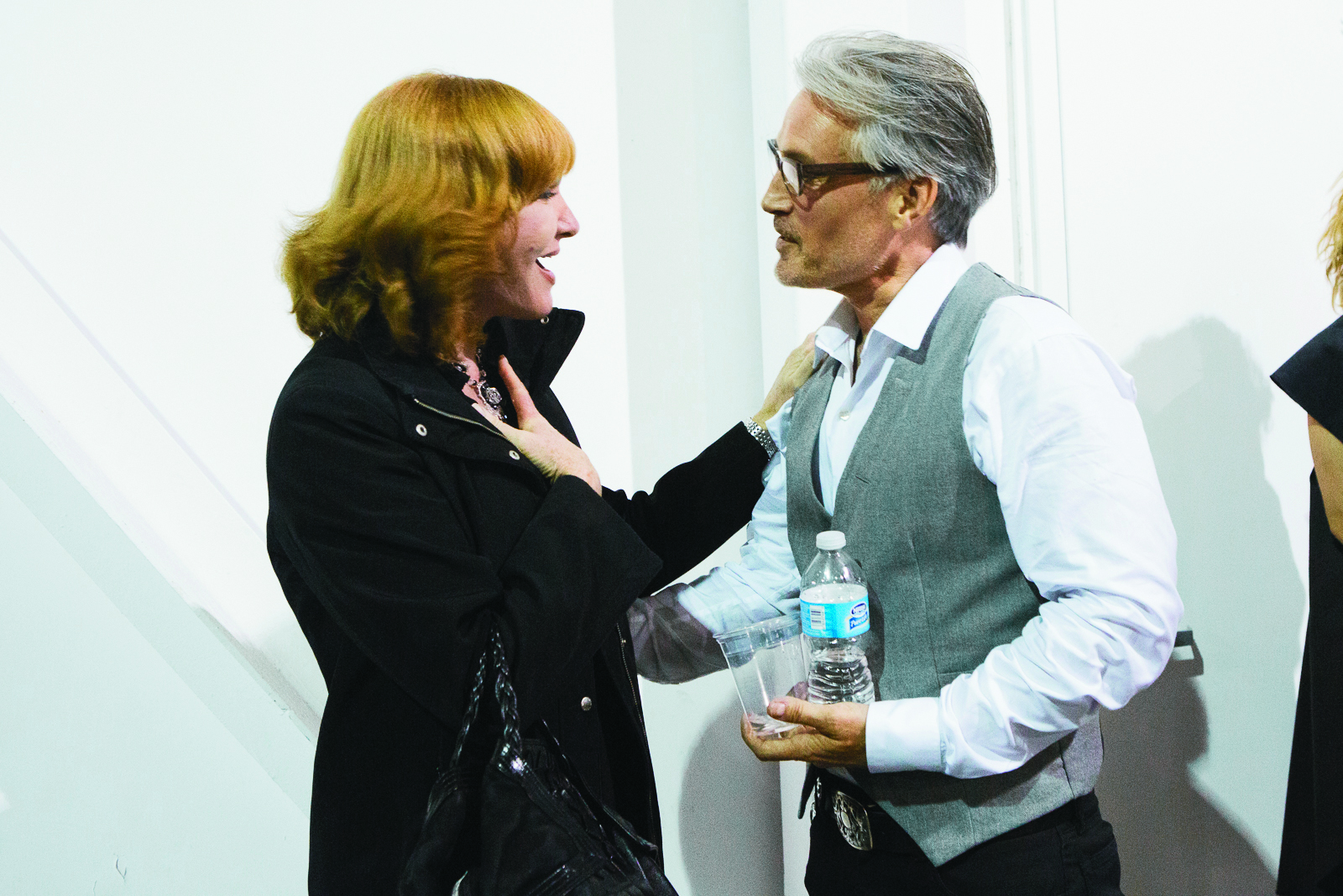 Vivienne Mackinder and Vaughn Acord share a moment backstage.
